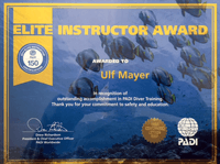 Elite Instructor Award for PADI CD Ulf Mayer